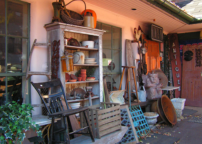 Front of an antique store