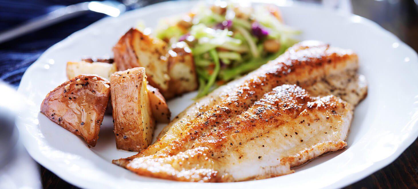 Seafood, potatoes and slaw
