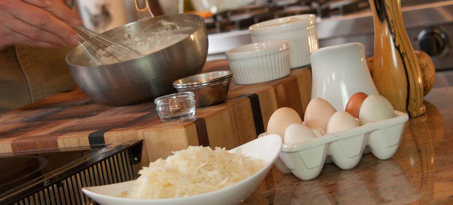 Fresh breakfast ingredients, eggs, hash browns