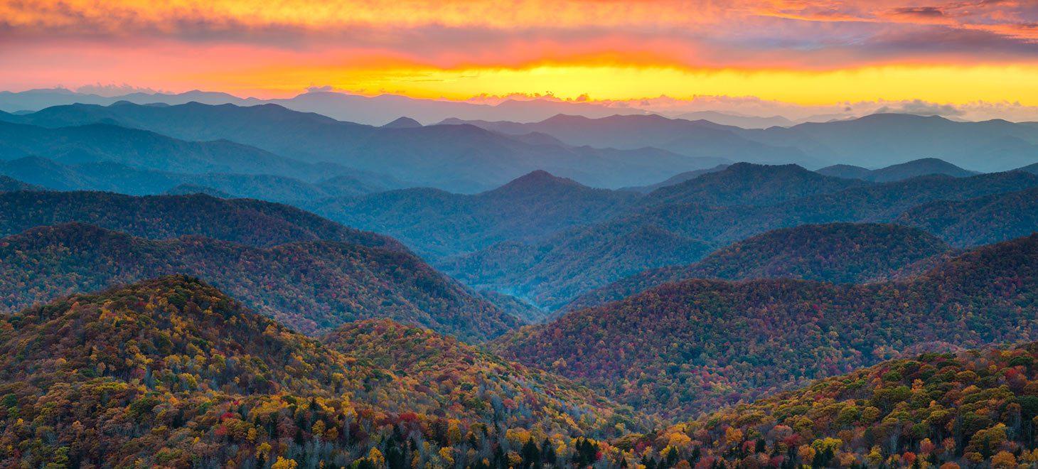 Sunset over a mountain range
