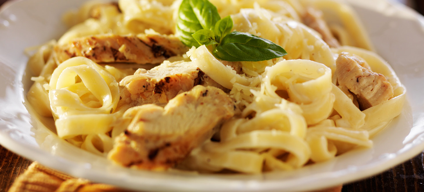 Pasta and chicken on a plate
