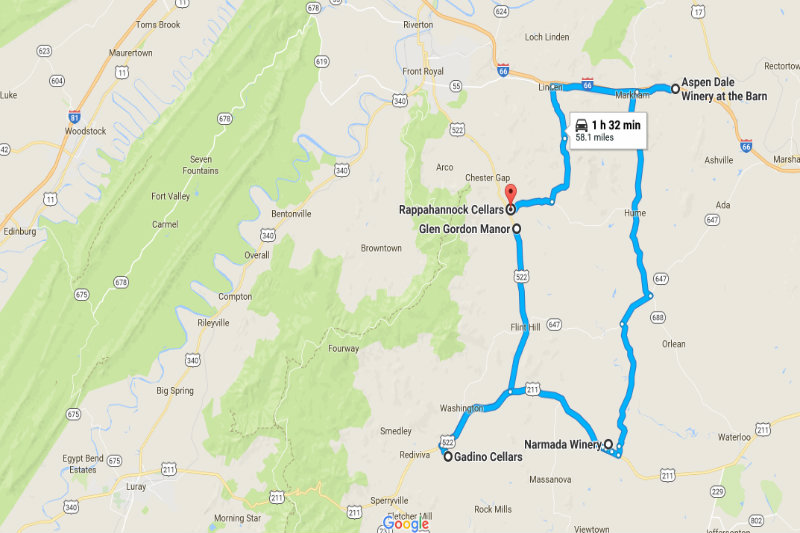 Map of Blue Ridge Wine Way