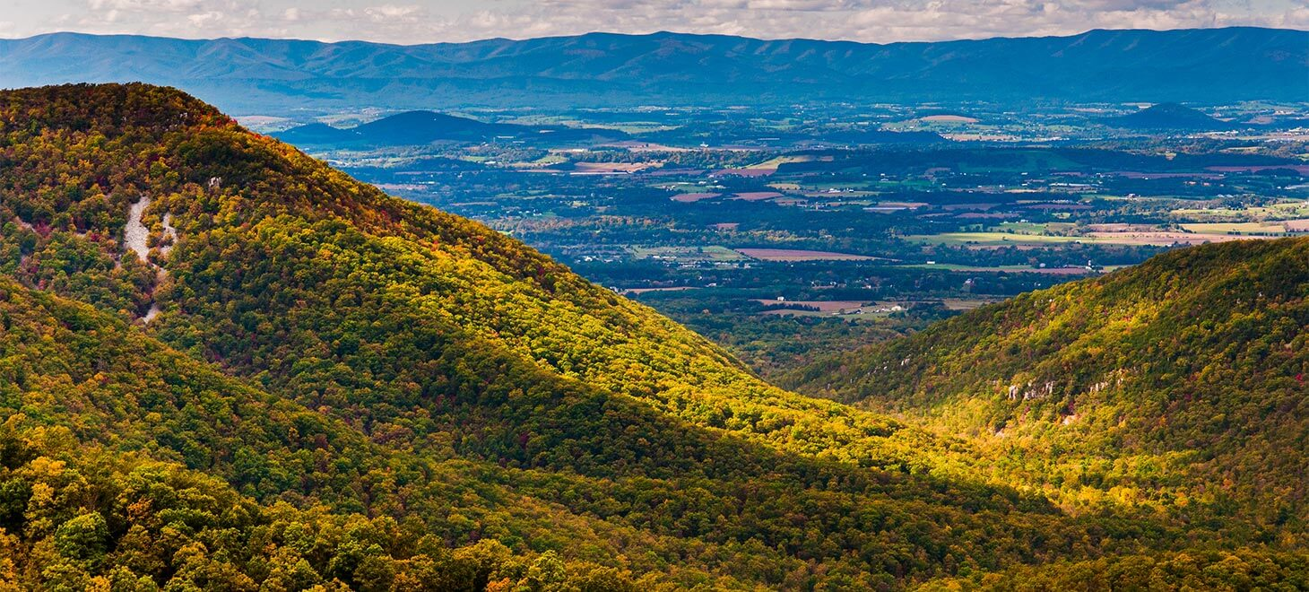 rolling green hills in the Shenandoah Valley