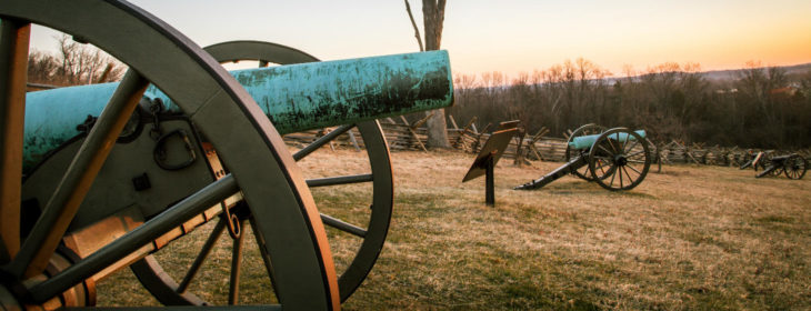 Old cannons on a battle field