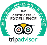 TripAdvisor Certificate of Excellence - Hall of Fame 2018