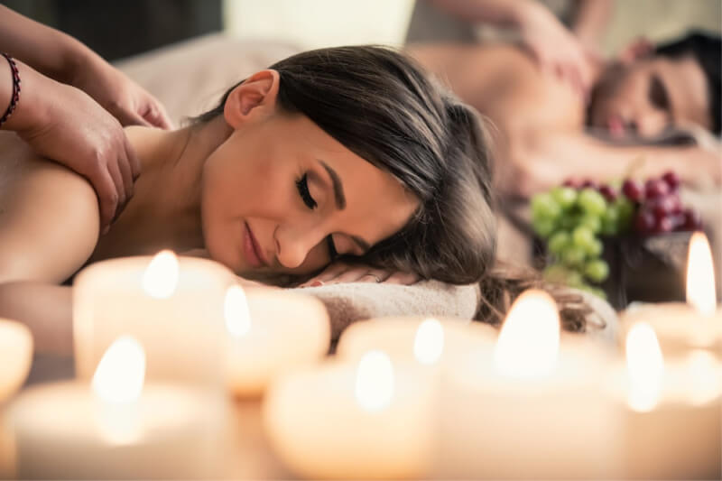 Candlelit couples massage
