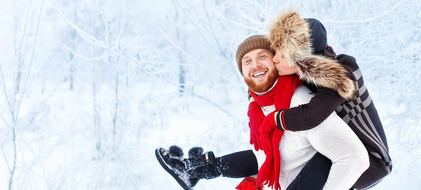 Couple having fun in winter