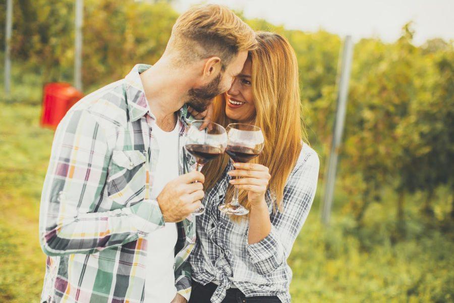 Wine Tasting in Virginia - Couple in a Vineyard