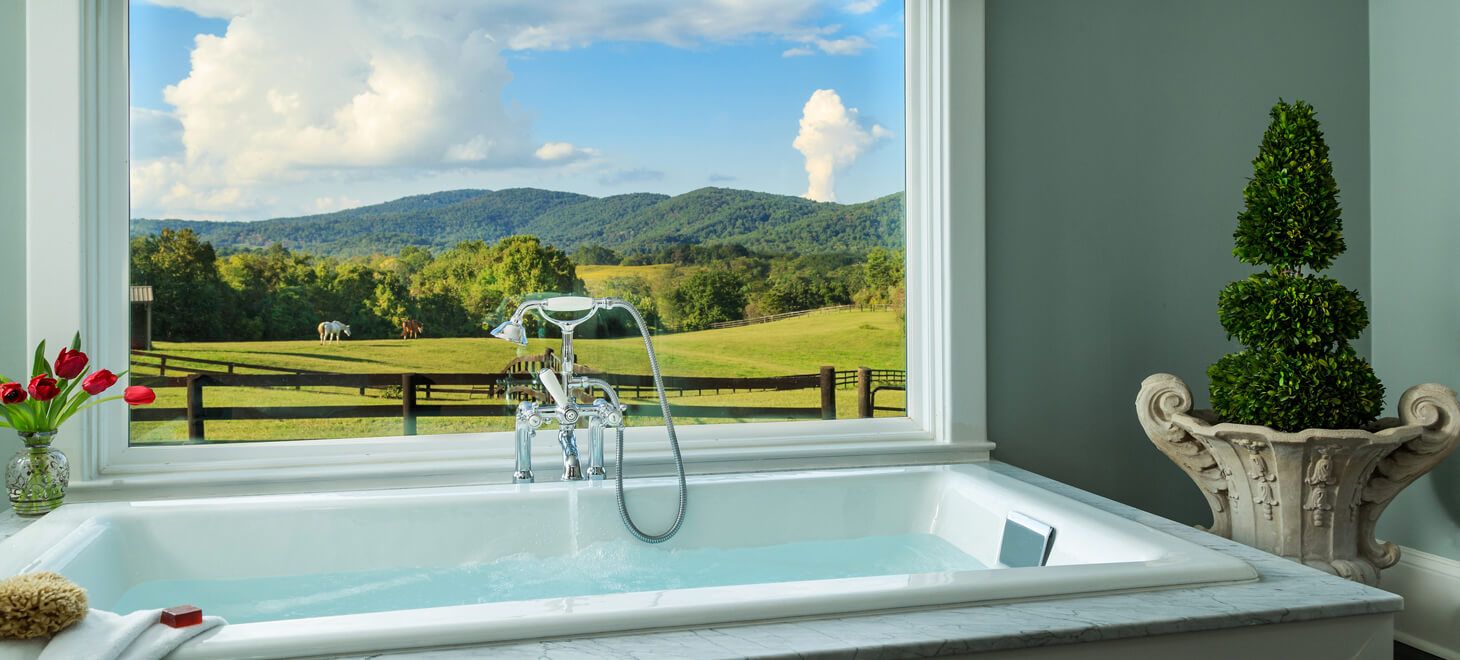 jetted tub with view of horses at VA bed and breakfast