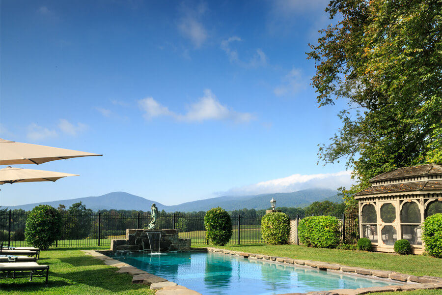 Beautiful pool at country bed and breakfast with mountain views