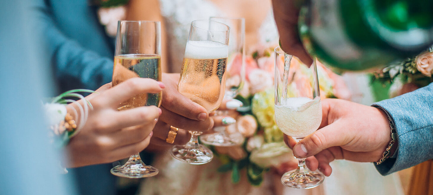 champagne toast at a wedding